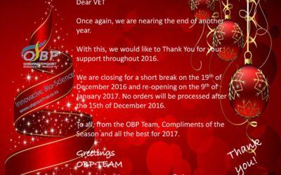 OBP sluiting tydens Desember 2016 Onderstepoort Biological Products