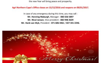 Merry Christmas and Happy New Year AGRI Northern Cape Management